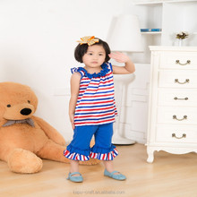 2015 wholesale embroidery baby bedding set full bed Guangzhou stripe girls bedding quilts with ruffle
