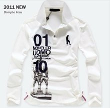 summer casual printed 100% cotton long sleeve polo t-shirt for men