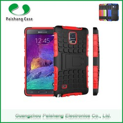 Beautiful TPU PC grooved tire hybrid kickstand dual design mobile phone back cover For Samsung galaxy note 4