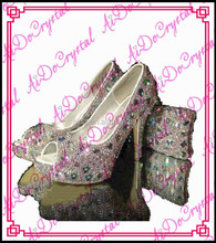 Aidocrystal Top Quality High Heels Shoes/ Women Wedding Shoe and bag sets/beautiful Pink Lady Shoes