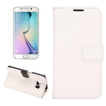 China smartphone litchi texture wallet flip leather case for Galaxy S6 edge