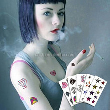 2015 customized metallic temporary tattoo,/body jewlly stickers tattoo/Custom Water Transfer Temporary Tattoo