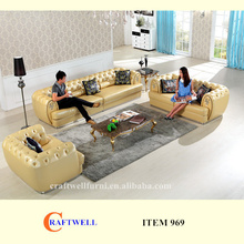 new design yellow leather chesterfield sofa 4 seater, Aristocrat settee