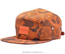 direct factory unisex fashion 5 panel hat/ snapback hat/ Woven Label Flat brim Custom 5-panel Camp Cap