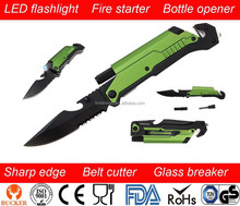 rescue knife with fire starter
