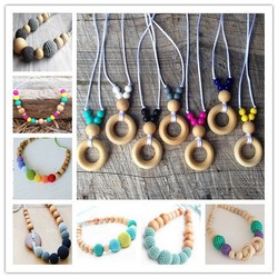 Adjustable Natural Wood Bead and Silicone Teething Necklace for Mom Nursing Necklace Babywearing Necklace