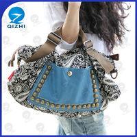 2015 Wholesale Rivet Vintage Canvas Women Handbag Bag