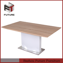 home used rectangular thick wood slab dining table