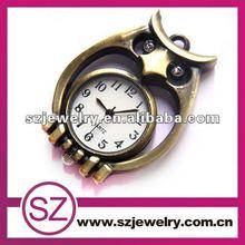 Wholesale vintage antique style owl pocket watch necklace