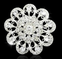 Luxury Silver Plated Vintage Stylish Crystals Flower Pin Brooch Top quality Bridal Woman Bouquet Brooch Big sale!!