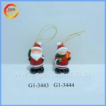 Hanging christmas ceramic snowman, ceramic santa claus figurine