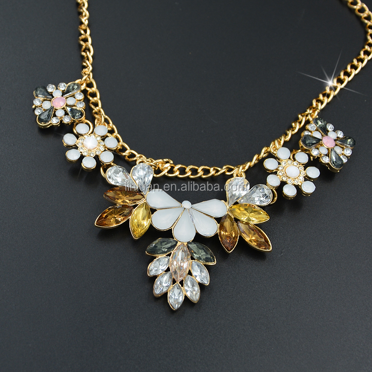 Yiwu jewelry factory 14k gold bib choker crystal necklace for Wholesale 14k gold jewelry distributors