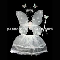 white fairy headband wing magic wand and organza skirt four pieces in one set