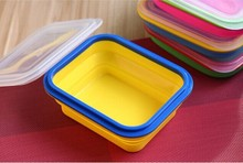 1-Compartment Eco Collapsible Silicone Lunch Box Travel Food Grade Folding Portable Lunch Boxes Container