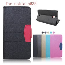 New arrival unisex flip wallet leather back cover card slots case for Microsoft Nokia Lumia N635