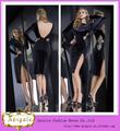 Hot Negro vaina del cordón de terciopelo de manga larga longitud de la rodilla rajó V-back Slinky vestidos de noche (QU0728)
