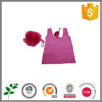 Red flower folding shopping bag polyester