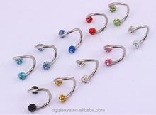 Wholesale fashion Nickel-free stainless steel body jewelry diamond eyebrow piercing