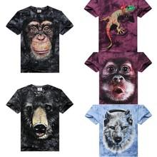 Animal printed 3d t-shirt,3d printing t-shirt,printing t-shirt
