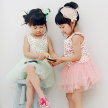 Children Summer dress, Kids clothes girl's 2-pc set ball gown lace tulle dress high end quality wholesale 3-7 years