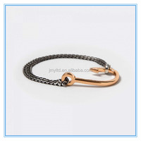 Fashion DIY made double wrapped chain couples hook anchor bracelet
