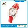 Luxury cheap rose flower design leather women watch with different color watches