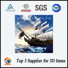 plastic material 3d painting of ship picture for sourvenir gifts