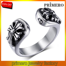 PRIMERO fine jewelry High Polished Signet Solid Stainless Steel ring 316L Stainless Steel Punk style cuff titanium steel rings