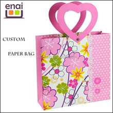 cute small delicate design unique handle printing gift paper bag for girl