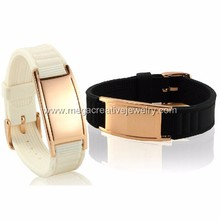 Health Stainless Steel Germanium Negative Ion Magnetic Energy Silicone Therapy Rubber Bracelet Wristband
