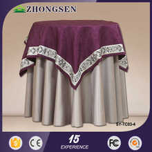 Factory Direct Supply Simple cutwork velvet and orangza embroidered table cloth