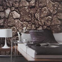 3d nature stone rock vinyl coated home / hotel / restaurant wallpaper