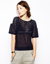 Boa qualidade Hot Sale New Arrival Fashion Design decote redondo Lace blusa com contraste voltar