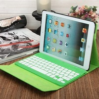 Green Color Magic leather case with wireless bluetooth keyboard for samsung galaxy tab from shenzhen