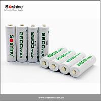 Soshine New product Always Ready Ni-MH AA/Mignon 2600mAh 4pks rechargeable battery AA NI-MH battery aa rechargeable battery 1.2v