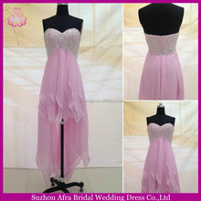 SW1193 Sweetheart Chiffon High Low Hot Pink Prom Dresses with Bling bodice