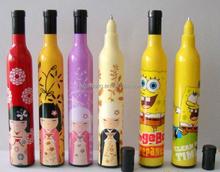 Plastic Window Message wine bottle shape Ballpoint Pen/promotional ball penCH-6176