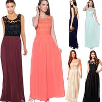 MS71256L Women lace top maxi long chiffon dress fancy evening dress for fat women