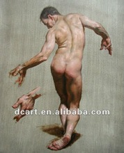 Strong man nude body oil painting
