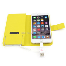 2500mAh backup battery charger leather case cover power bank for smartphone