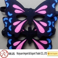 2015 new design !Felt butterfly mask ,party mask with black elastic band for girls