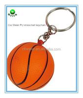 bulk polyurethane 4cm PU stress basketball keychain/custom printed PU basketball keychain/PU toy foam stress basketball keychain