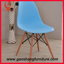 Bright color plastic chair dining chair outdoor chair with wood legs