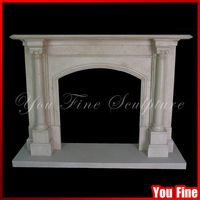 Chinese Natural Stone White Marble Fireplace With Surround