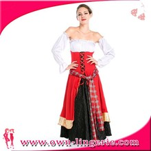 Lovely carnival costume plush sexy country girl adult women costume wholesale