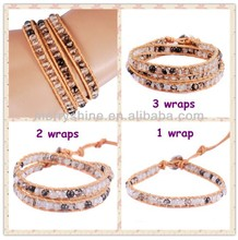 Popular fashion products beaded leather wrap around bracelets QCL30