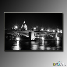 High quality Modern black and white canvas pictures city, canvas printing for home decoration