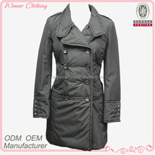 lady winter coat/double breasted buttoned cuff slim full length winter coat