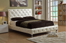 Modern luxury white king size diamond leather bed with crystal