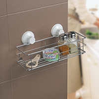 1930 SQ bath and kitchen accessories new products stainless suction cup steel kitchen metal storage rack